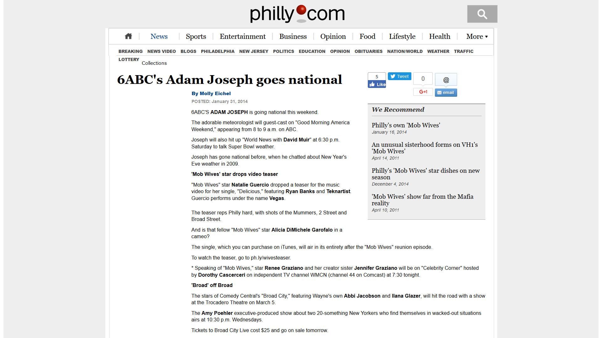 6ABC's Adam Joseph goes national