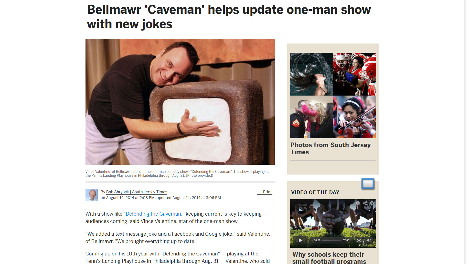 Bellmawr 'Caveman' helps update one-man show with new jokes